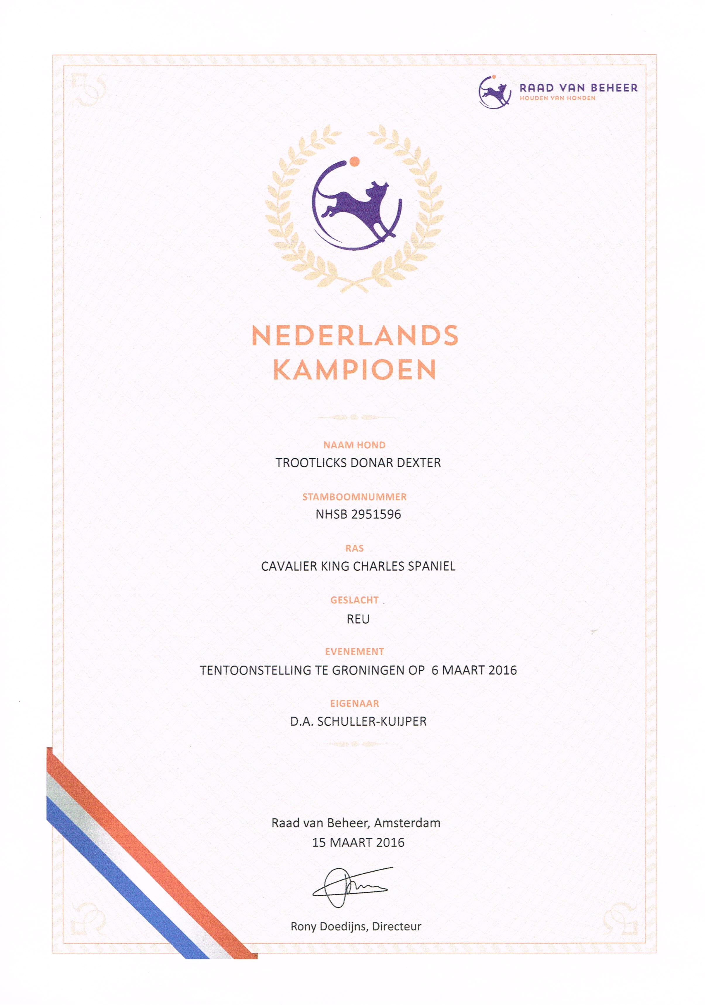 Dexter nederlands kampioen